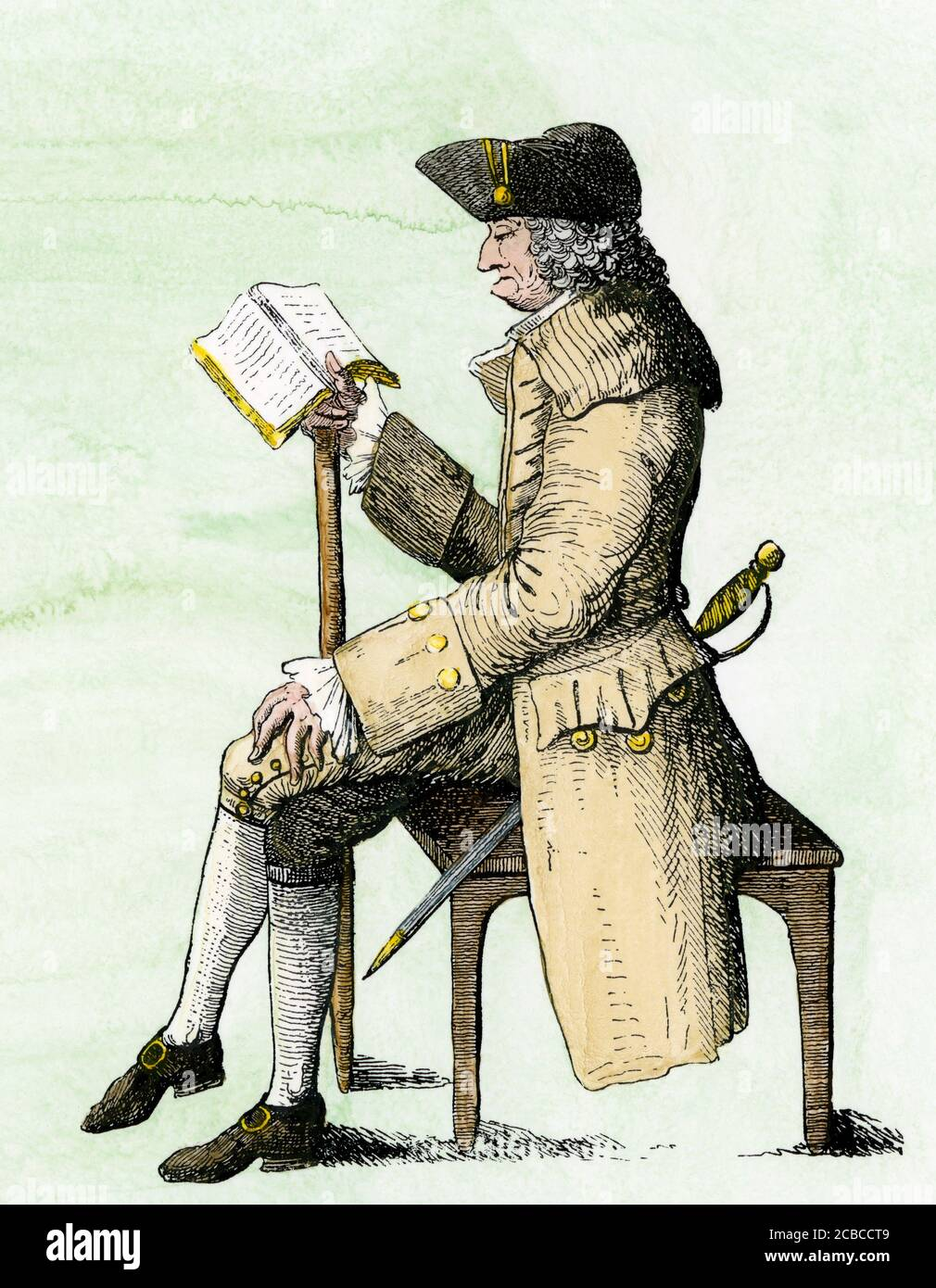 James Oglethorpe in old age, 1785. Hand-colored woodcut Stock Photo