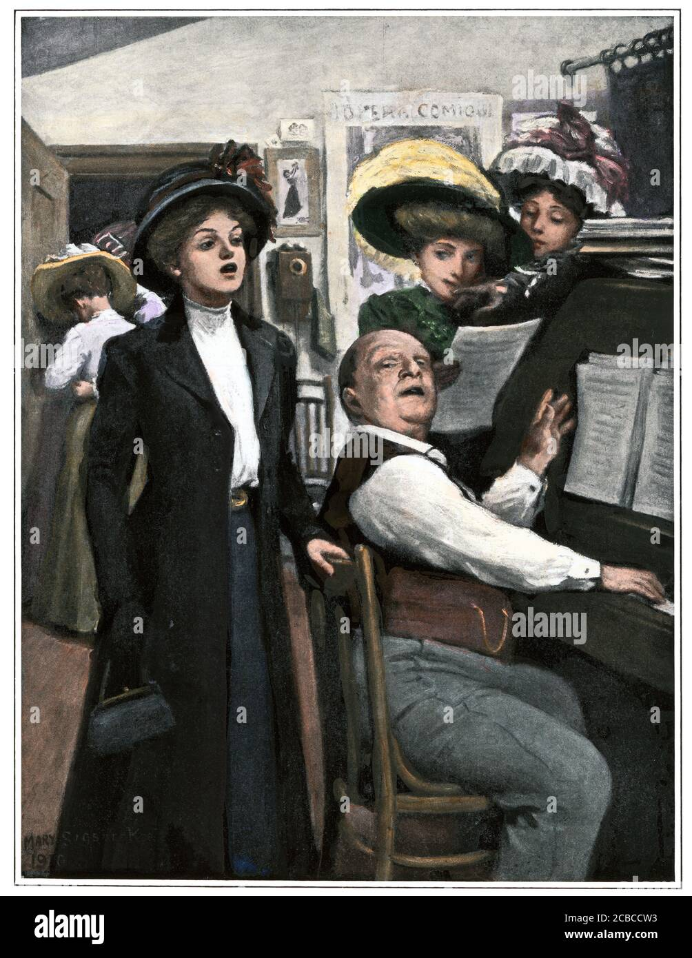 Aspiring young singer auditioning, early 1900s. Hand-colored halftone of an illustration Stock Photo