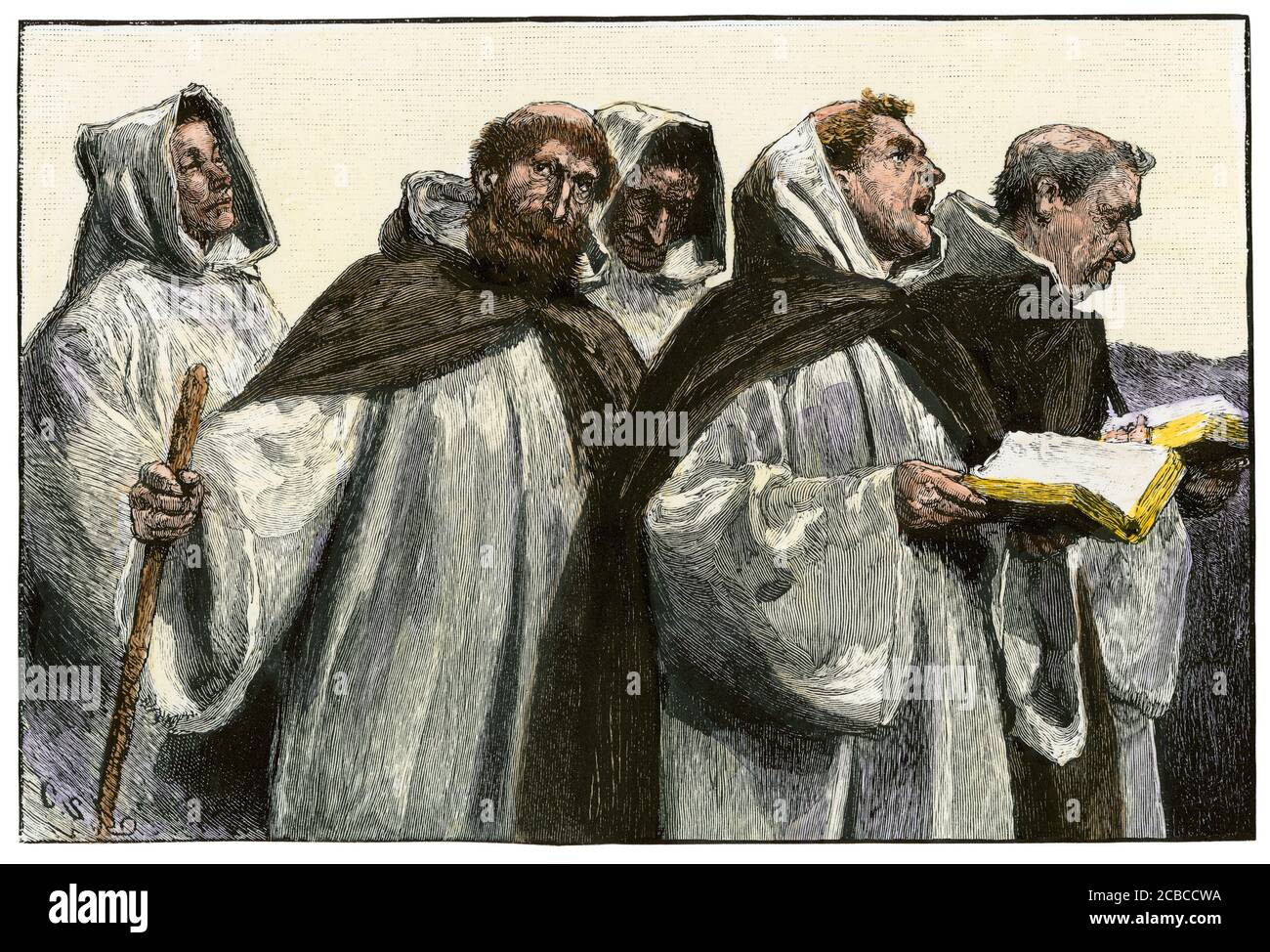 Procession of monks chanting. Hand-colored woodcut Stock Photo
