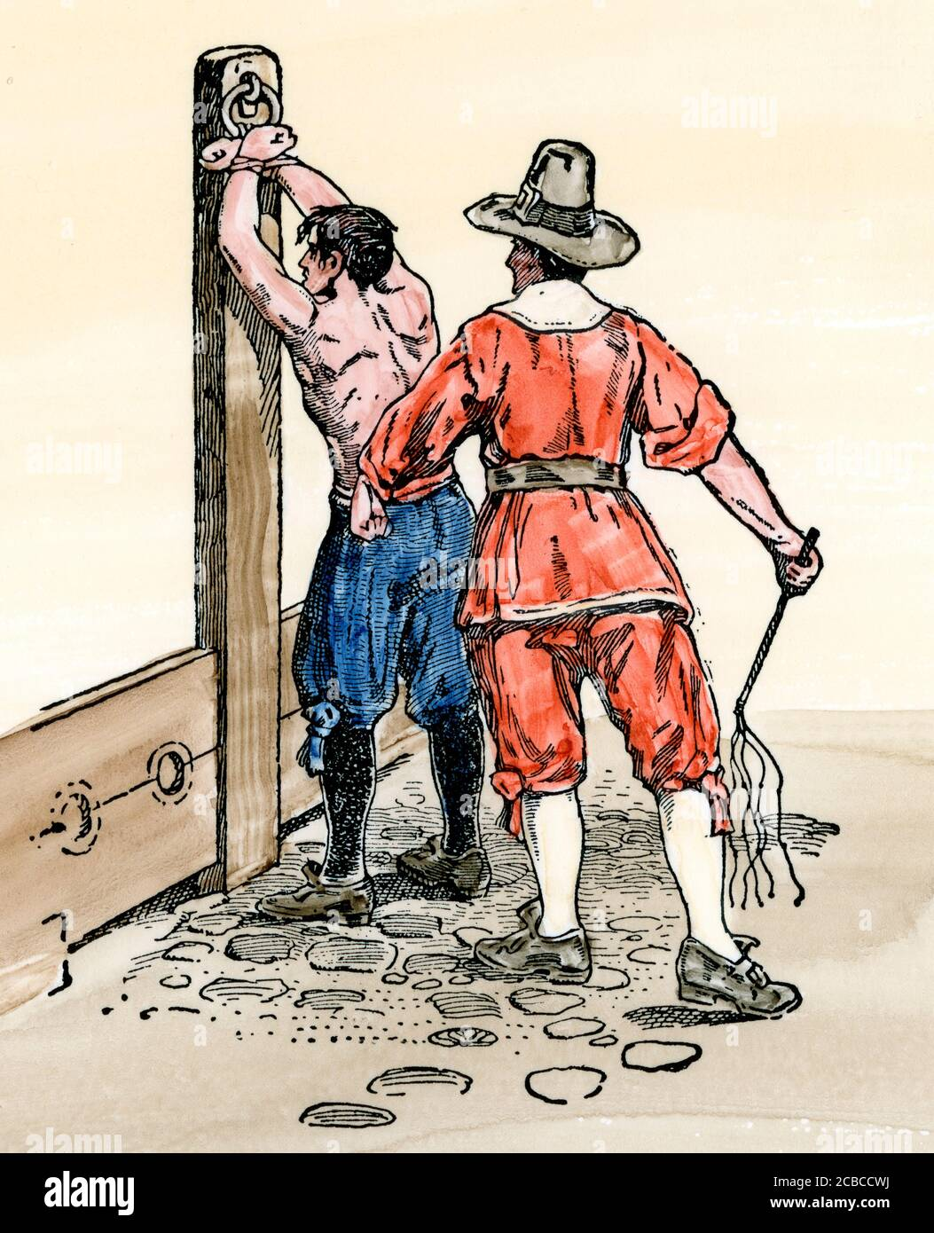Colonial whipping-post in New England. Hand-colored woodcut Stock Photo