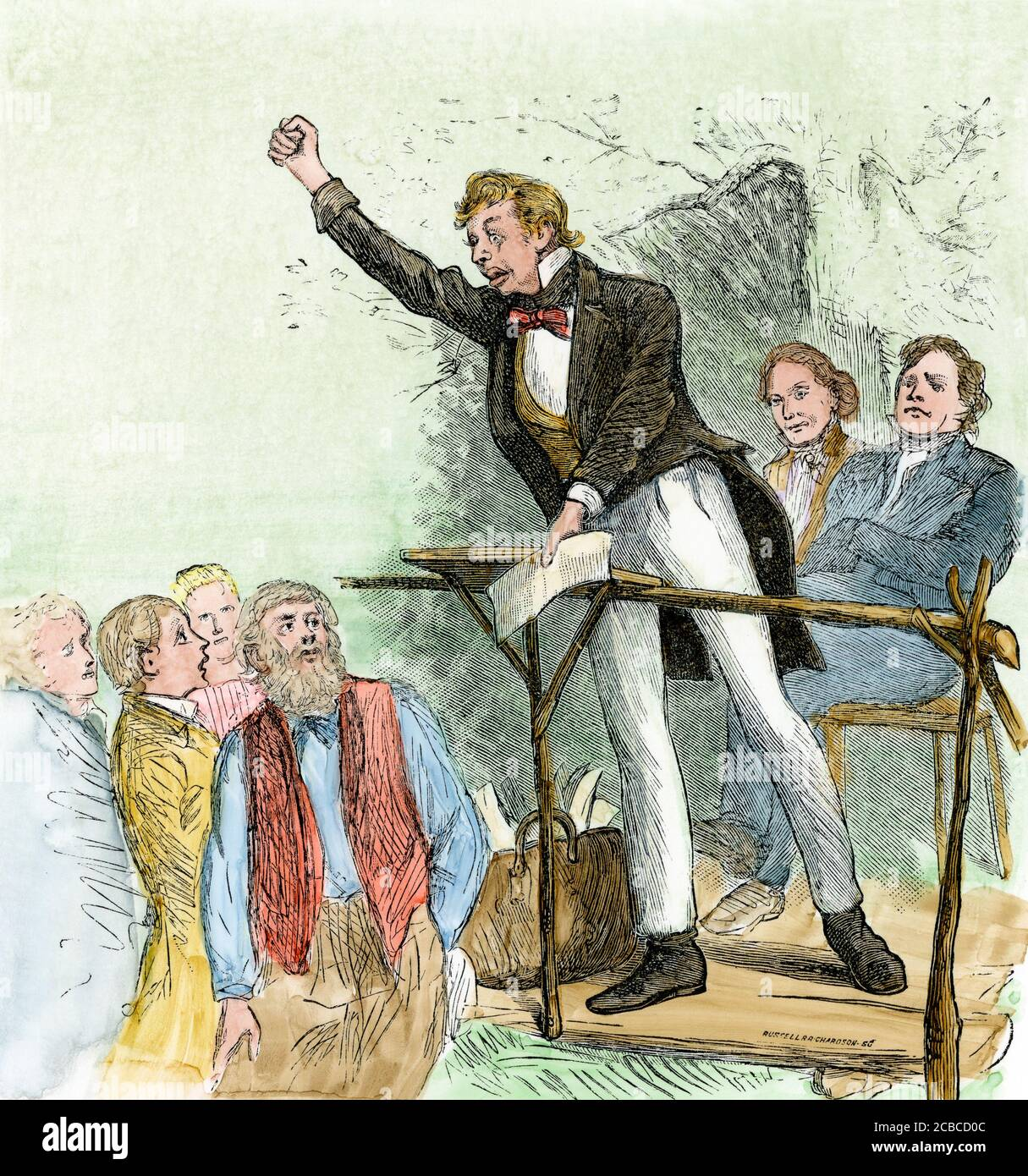 """American """"stump"""" speaker campaigning for office, 1800s. Hand-colored woodcut Stock Photo"""