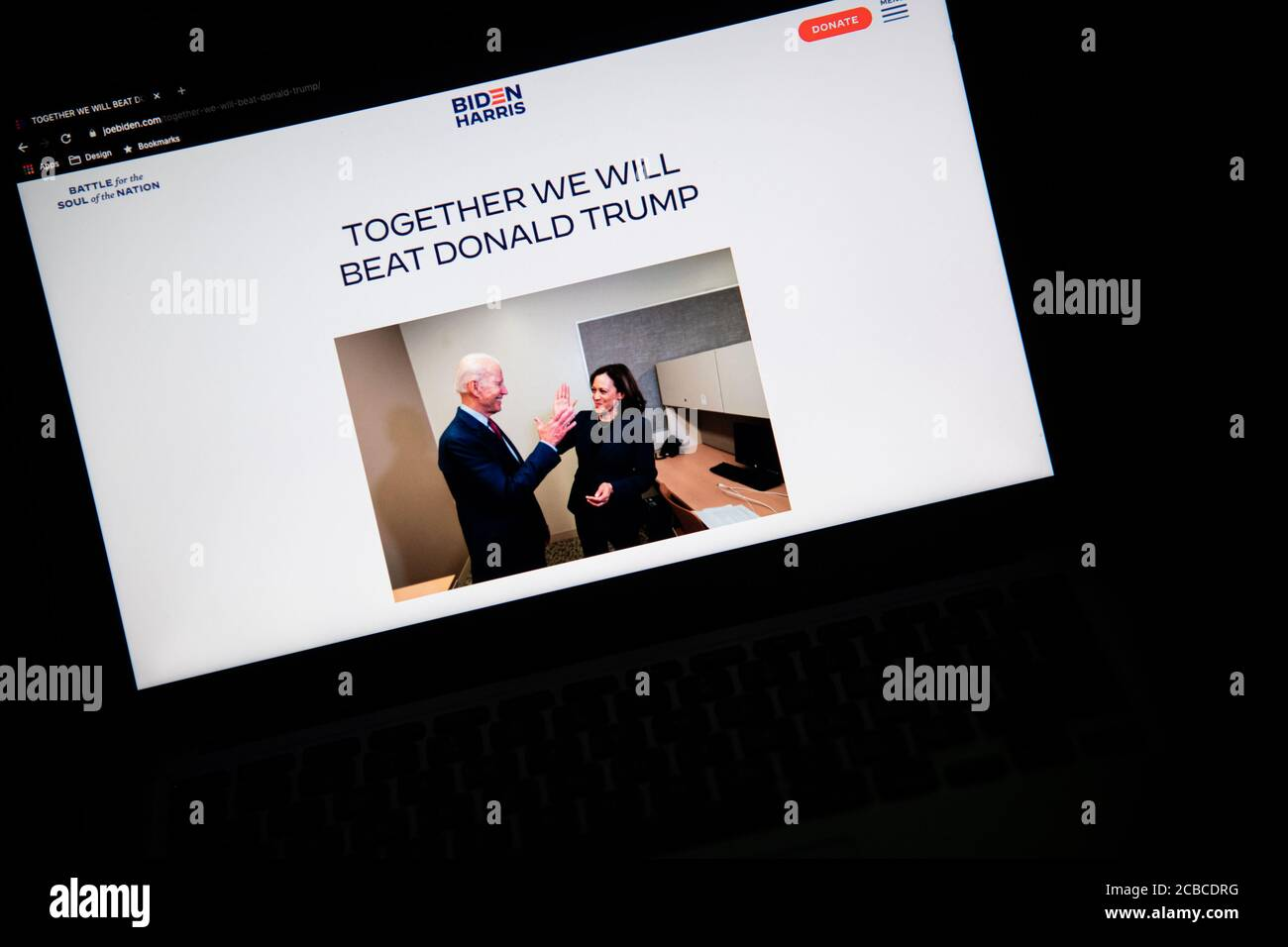 Washington Usa 12th Aug 2020 A Photo Illustration Of A Laptop Computer Screen Shows A Biden Harris Campaign Website Page Prior To A Livestream Event Of The Announcement Of Sen Kamala Harris As
