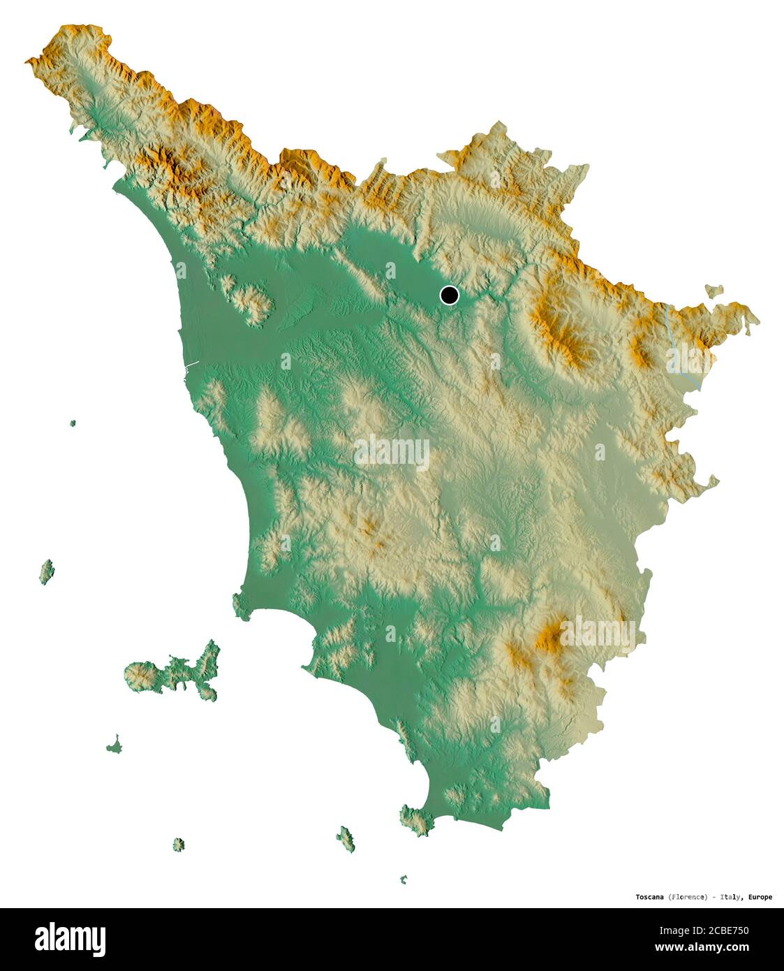 Toscana Fisica Cartina.Shape Of Toscana Region Of Italy With Its Capital Isolated On White Background Topographic Relief Map 3d Rendering Stock Photo Alamy