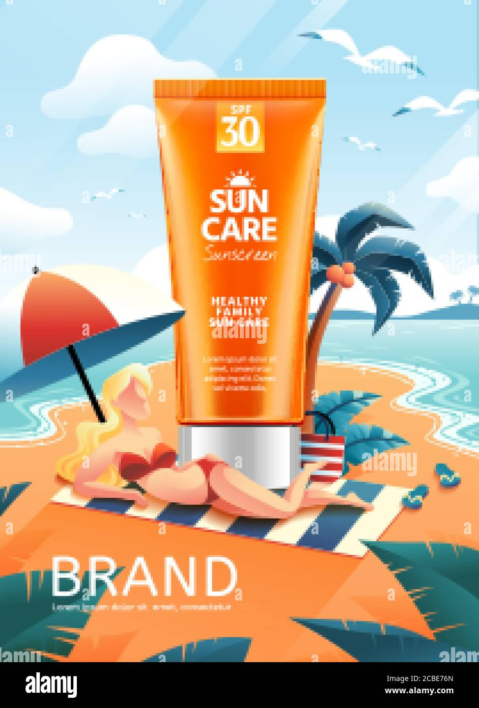 3d Illustration Sunscreen Product On Hand Drawn Beach With Blonde Beauty In Bikini Lying In Front Of It Creative Skincare Ads Stock Vector Image Art Alamy