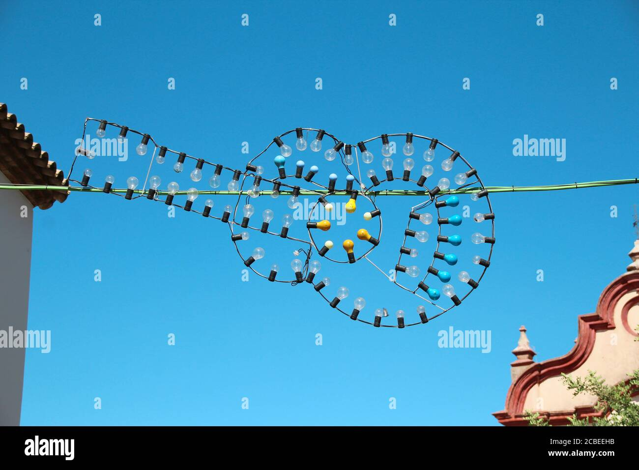 A Beautiful View Of Lights On A Fair As A Guitar Against The Blue Sky Stock Photo Alamy