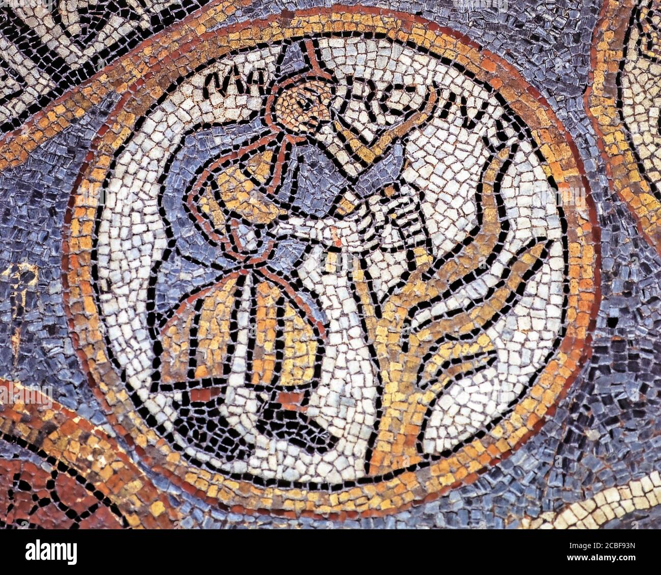 Italy Valle D'Aosta - Aosta Cathedral Mosaic of the Floor - March Stock Photo