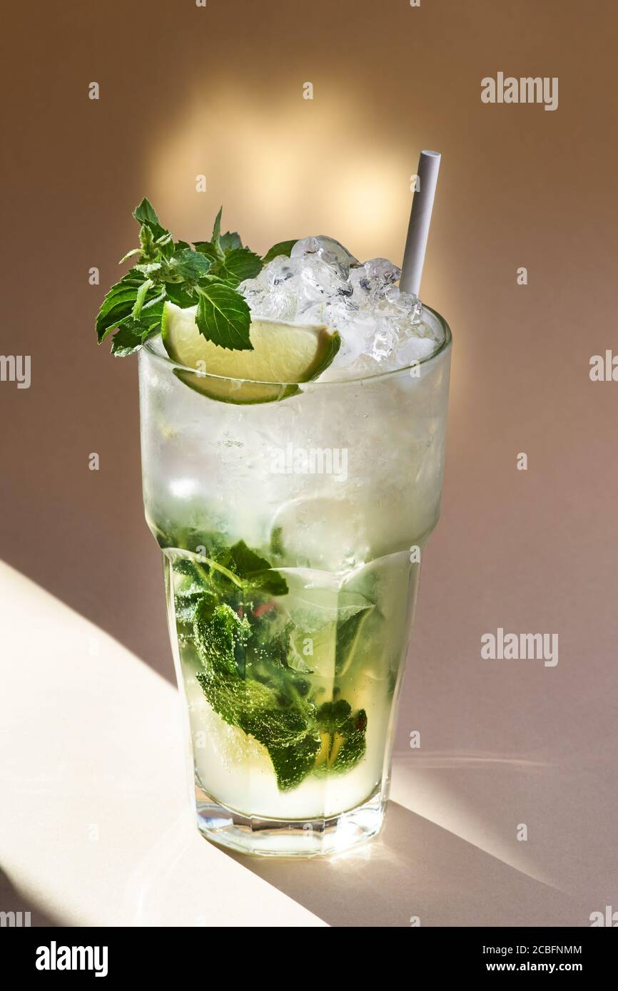 Rum Mojito Cocktail In Sunlight In Selective Focus Stock Photo Alamy