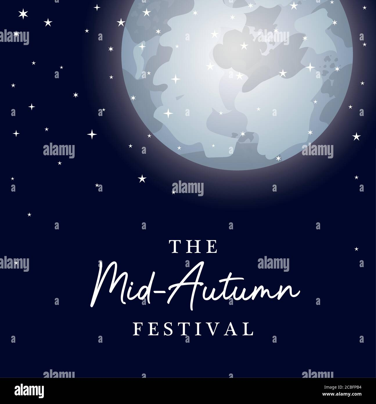 Mid autumn harvest moon festival with stars design, Oriental chinese and celebration theme Vector illustration Stock Vector