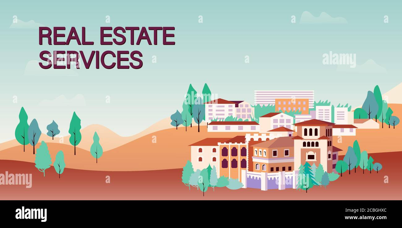 Web Banner Template For Real Estate Agency Or Broker Row Of Houses And Trees Town View Vector Illustration In Flat Style For Advertisement Of Stock Vector Image Art Alamy