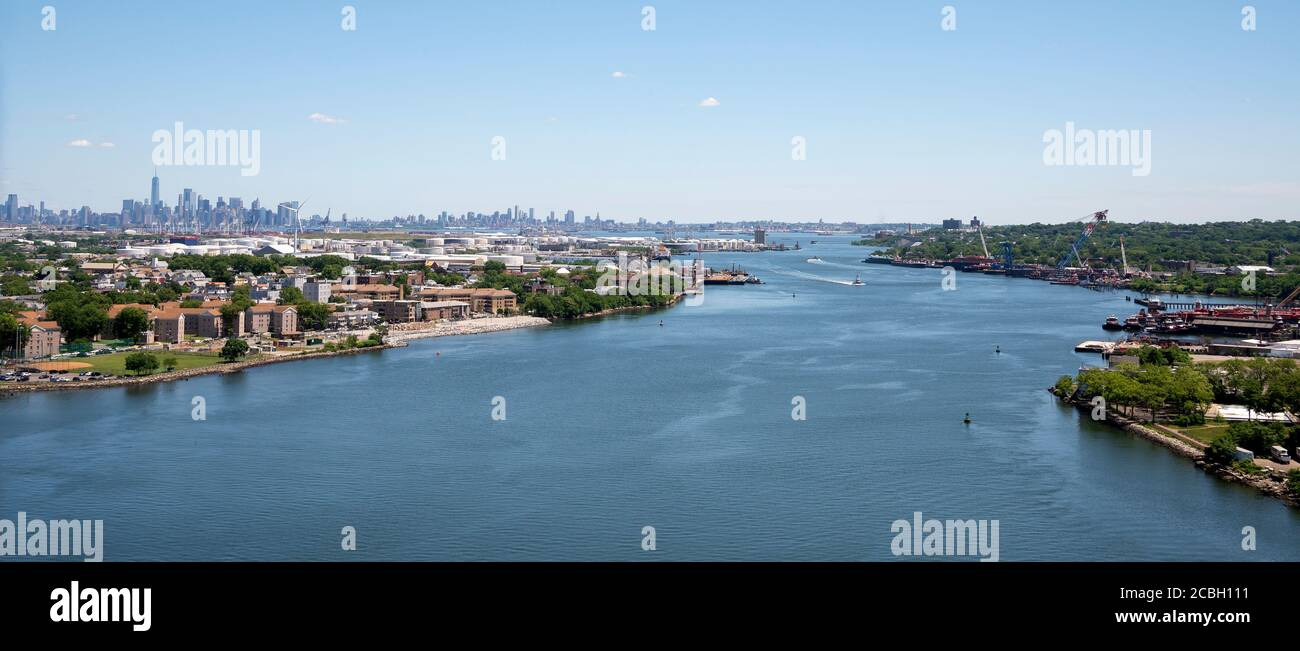 Views of NYC and Bayonne from Bayonne Bridge Stock Photo