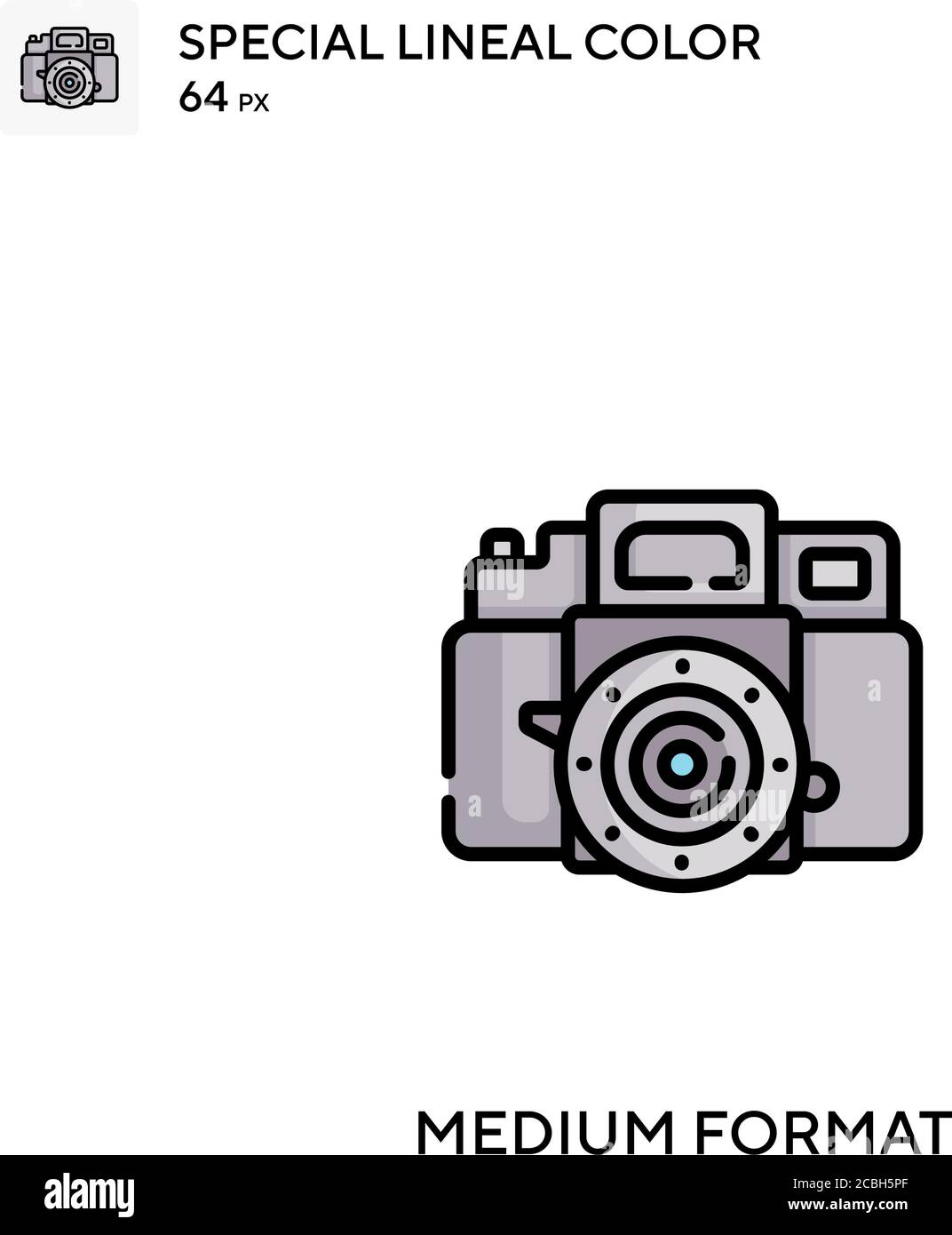 Medium format special lineal color vector icon. Medium format icons for your business project Stock Vector