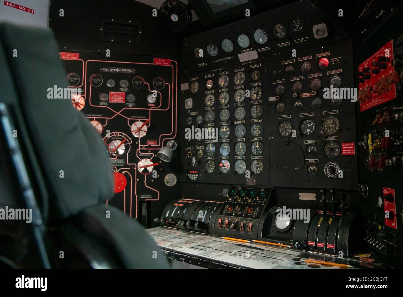 The flight deck control of Martin Mars Coulson Flying Boat Water Bomber British Columbia BC Canada Stock Photo