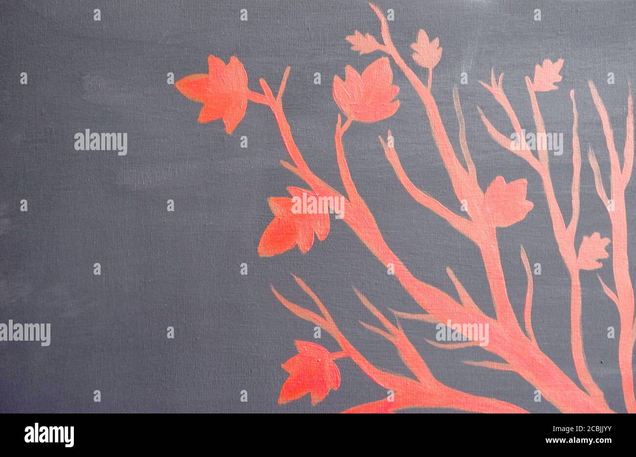 Botany Branches And Leaves Acrylic Painting On Canvas In Black And Red Hand Drawn Art Flat Lay Overlay Background Botanical Artwork Minimal Stock Photo Alamy