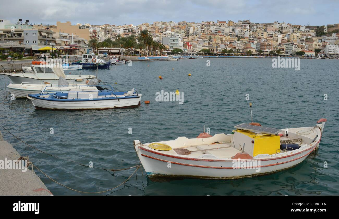 Fishing boats in the town of Sitia, Crete, Greece Stock Photo