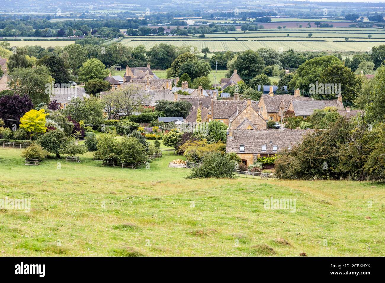 The Cotswold village of Laverton lying at the foot of the Cotswold scarp in Gloucestershire, UK Stock Photo