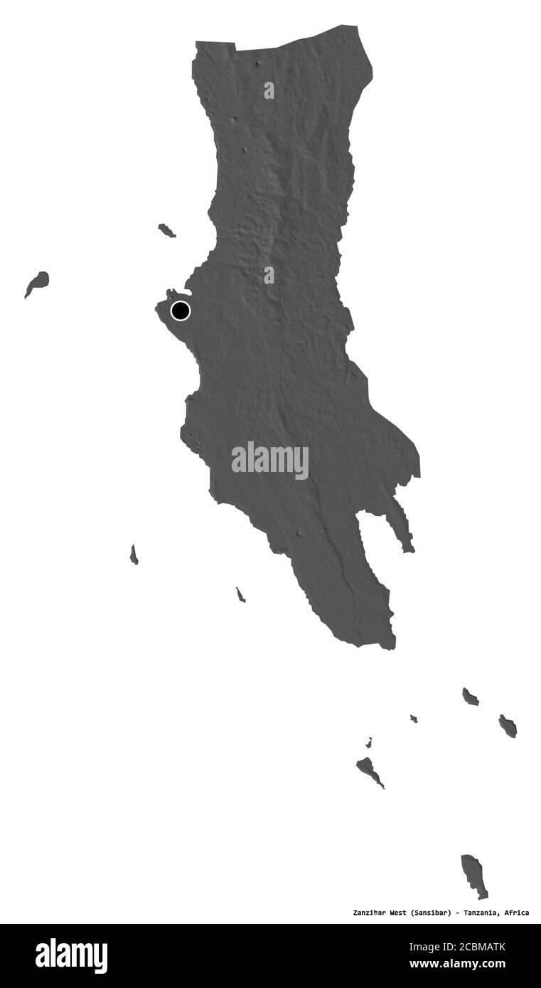 Shape of Zanzibar West, region of Tanzania, with its capital isolated on white background. Bilevel elevation map. 3D rendering Stock Photo