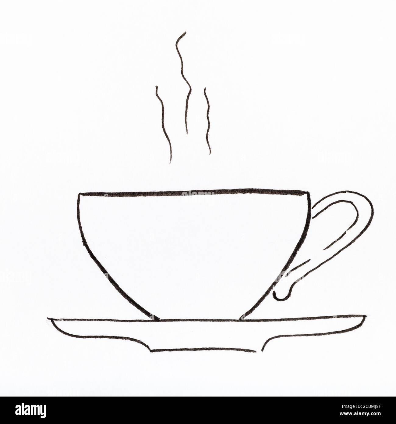 Sketch Of Side View Of Tea Cup And Saucer Hand Drawn By Black Felt Tip Pen On White Paper Stock Photo Alamy