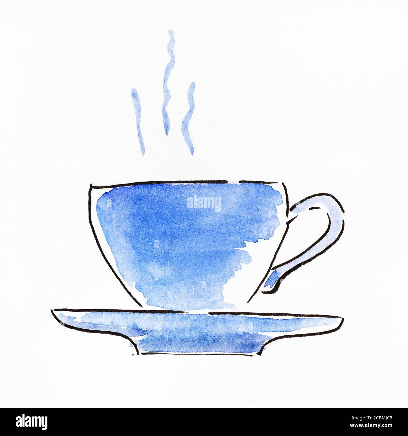 Sketch Of Side View Of Tea Cup And Saucer Hand Drawn By Black Ink And Blue Watercolours On White Paper Stock Photo Alamy