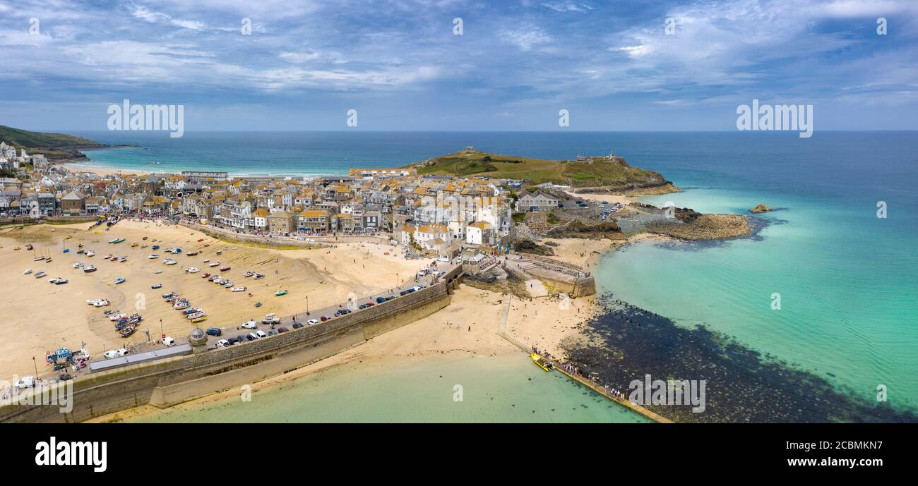 Panoramic view of St Ives showing Smeatons Pier and beaches, Cornwall, England Stock Photo