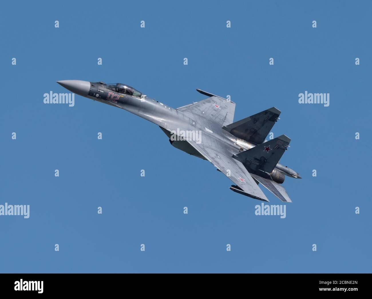 Moscow Russia Zhukovsky Airfield 31 August 2019: aerobatic Su-30 perfoming demonstration flight of the international aerospace salon MAKS-2019. Stock Photo