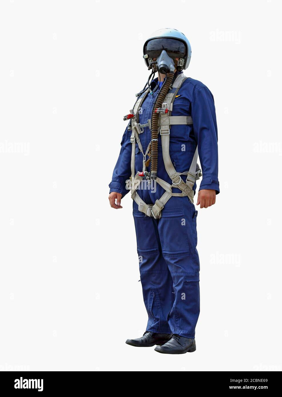 man dressed as a pilot on a white background Stock Photo