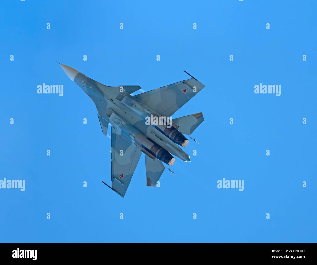 Moscow Russia Zhukovsky Airfield 31 August 2019: aerobatic Su-30 perfoming demonstration flight of the international aerospace salon MAKS-2019. Stock Photo