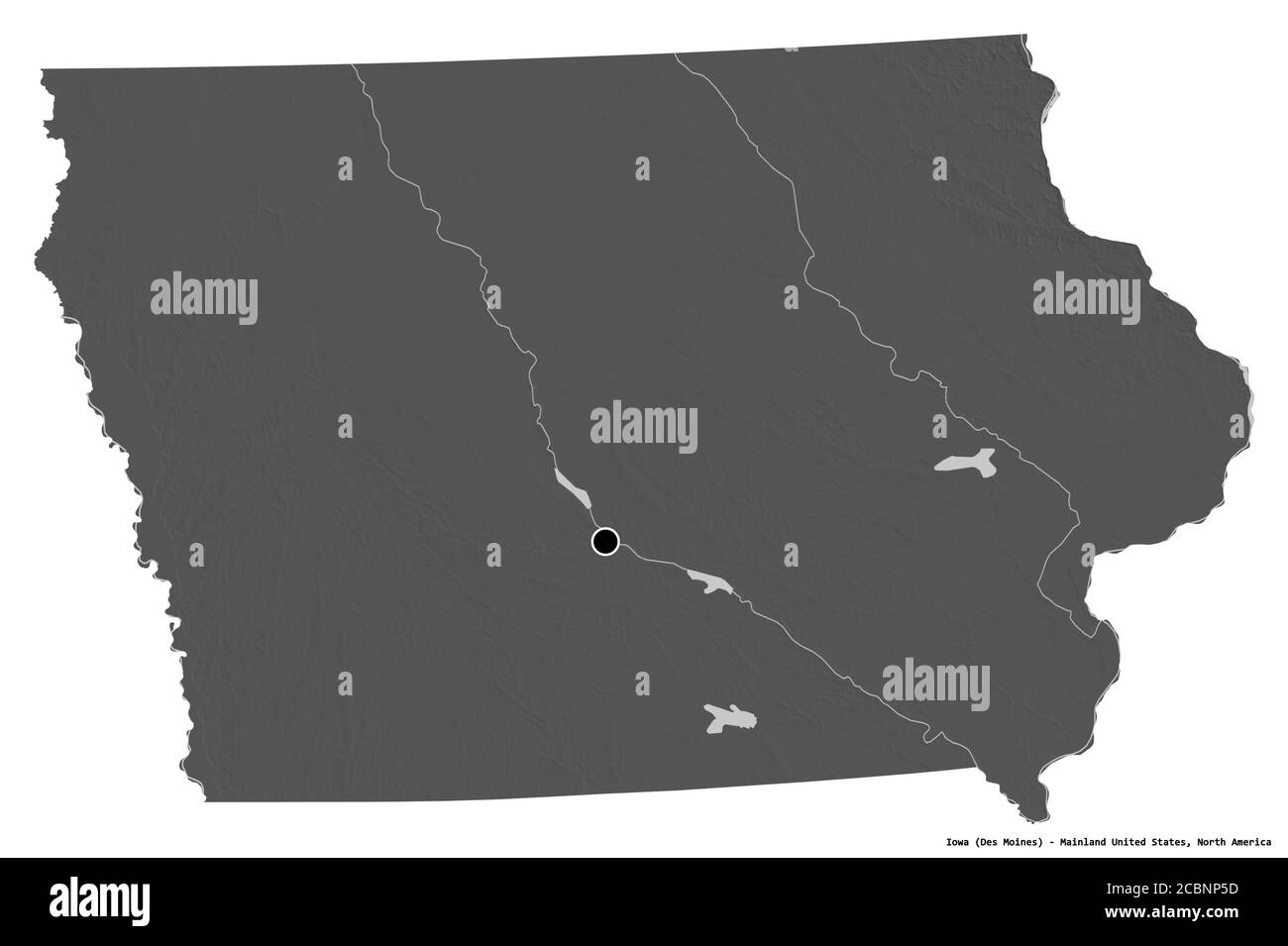 shape of iowa state of mainland united states with its capital isolated on white background bilevel elevation map 3d rendering stock photo alamy alamy