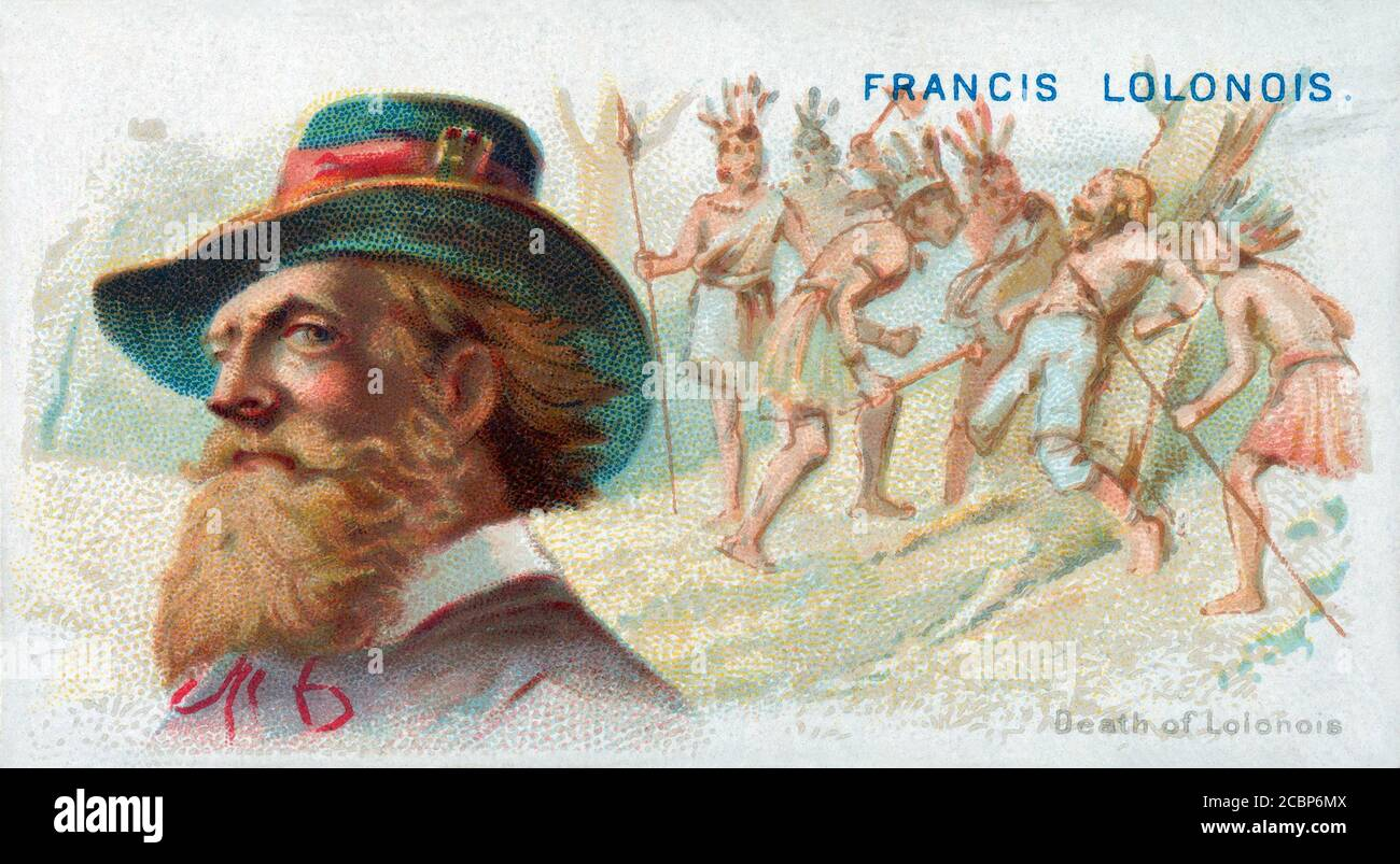 1669 c., FRANCE : The death of celebrated french pirate François LOLONOIS ( 1630 c- 1669 c ), aka L'OLONNAIS or L'OLONNOIS or LOLONOIS or LOLONA , born in Olonne ( France ) with name JEAN-DAVID NAU , General of the French Roovers in Tortuga ( Carribean ) . Portrait lithography by George S. Harris & Son , pubblished in Allen & Ginter Cigarettes , for the series THE PIRATES OF THE SPANISH MAIN SERIES , n. 19, printed in 1888 c, USA . - Francis  L' OLONNOIS - OLONNAIS - CARAIBI - PIRATE - PIRATA - PIRATERIA - PIRATI - BUCANIERI - PIRATES - BUCANIERE - FREEBOTER  - BUCCANEER - portrait - ritratto Stock Photo