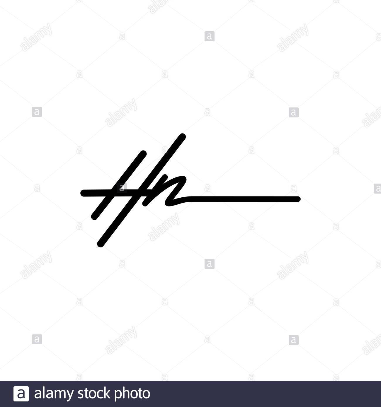 Letter HN Signature Logo Template Vector Stock Vector
