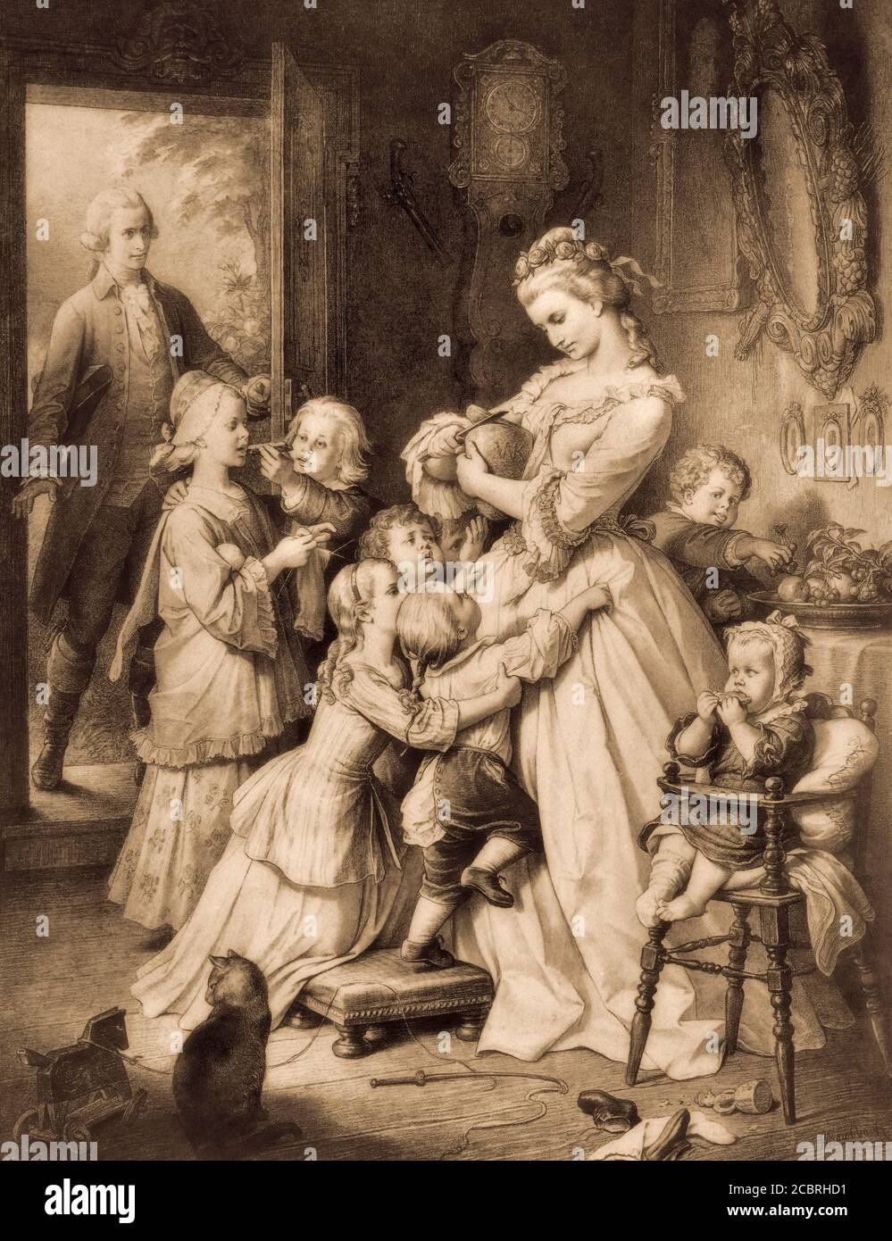 Charlotte with her younger siblings, The Sorrows of Young Werter, a novel by Johann Wolfgang von Goethe, after Wilhelm von Kaulbach Stock Photo