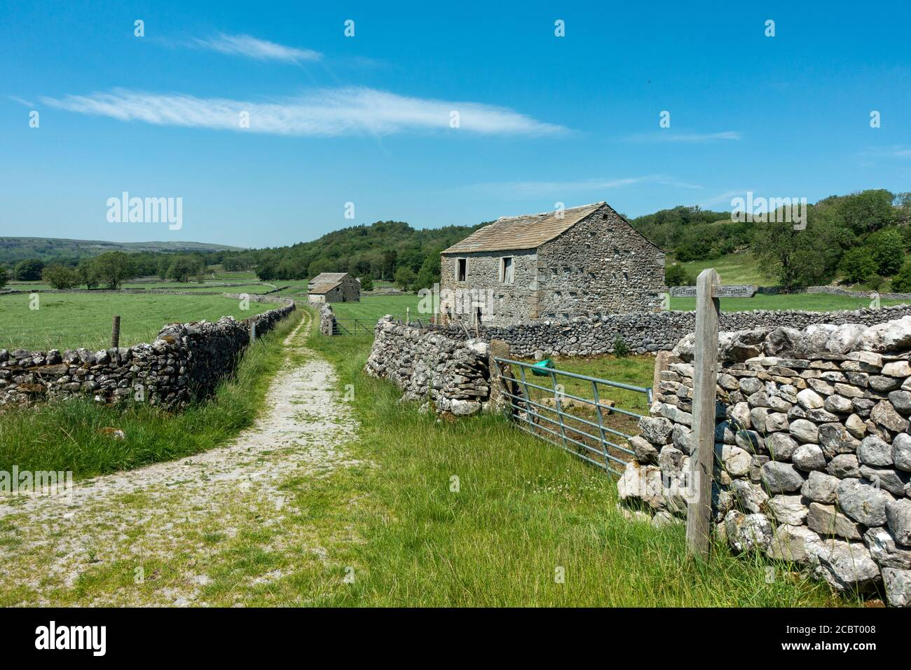 UK landscape: Looking back at Grassington Woods from a limestone walled track with lots of old stone barns in farming pastures on a hot summer's day, Stock Photo