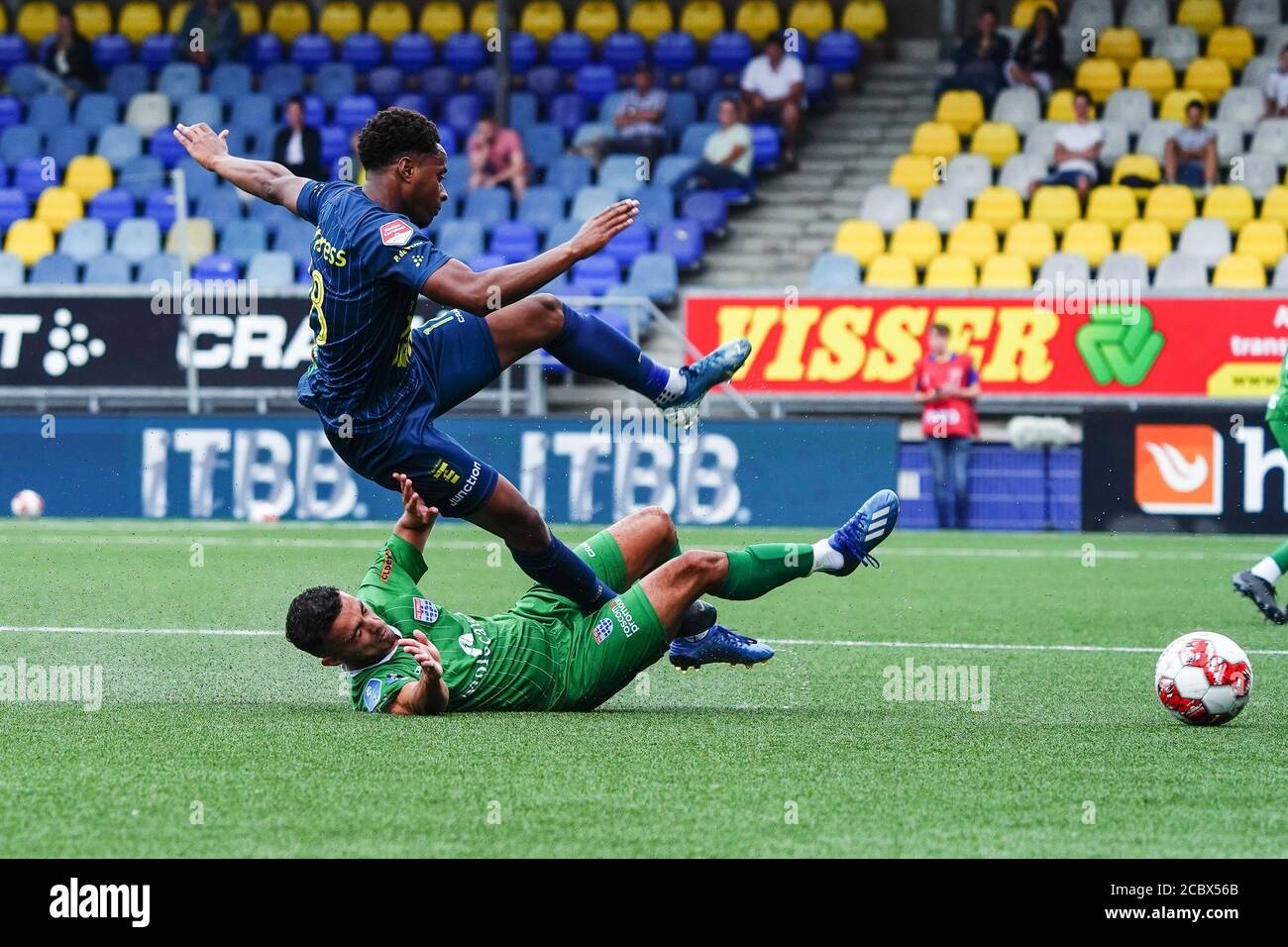 Leeuwarden Netherlands August 1 Mustafa Saymak Of Pec Zwolle Stanley Akoy Of Sc Cambuur Seen During The Pre Season Match Sc Cambuur V Pec Zwolle Stock Photo Alamy