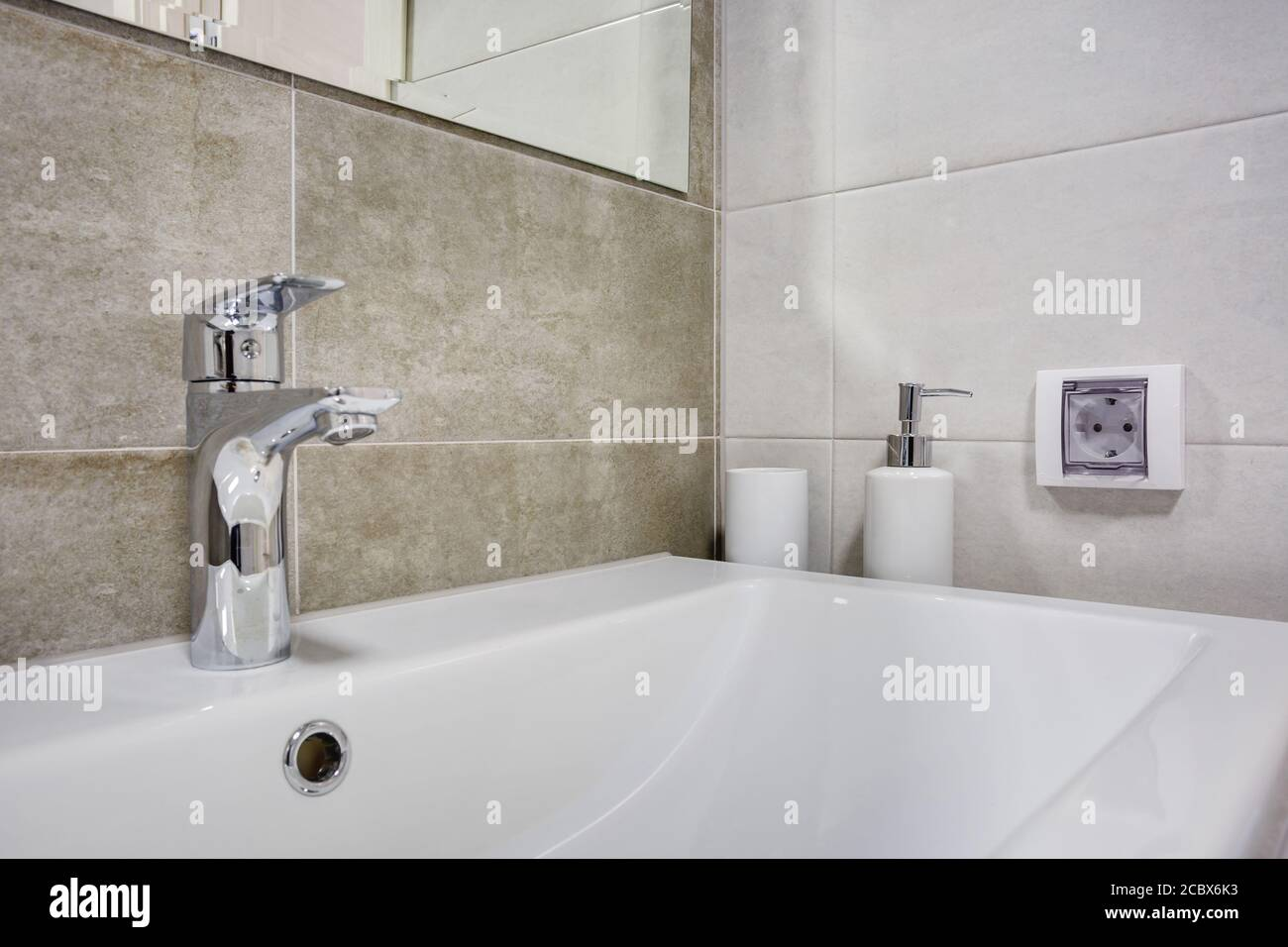 Water Tap Sink With Faucet In Expensive Loft Bathroom Or Kitchen Stock Photo Alamy