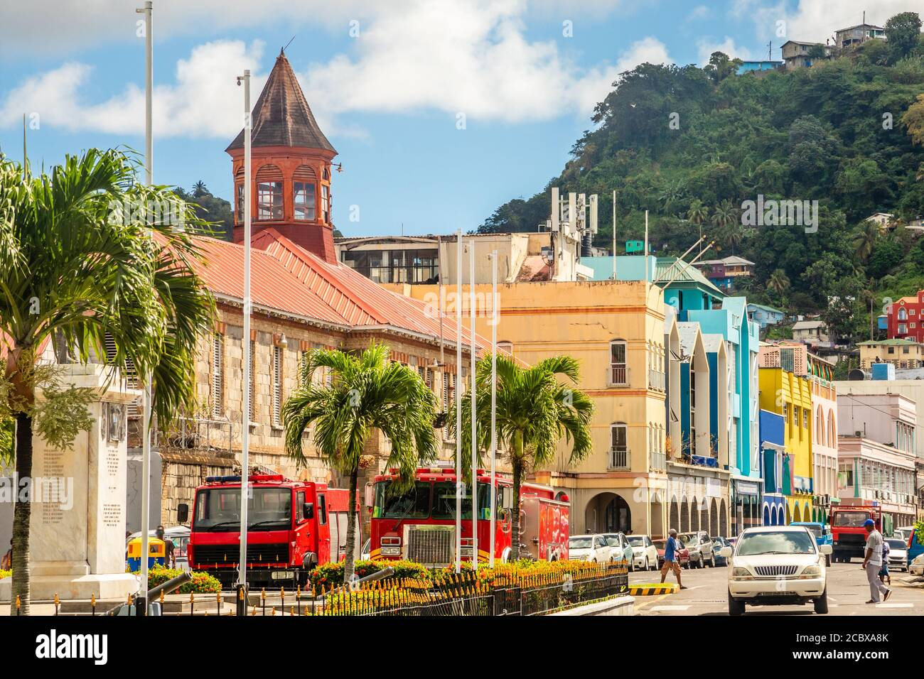 City center of caribbean town  Kingstown, Saint Vincent and the Grenadines Stock Photo