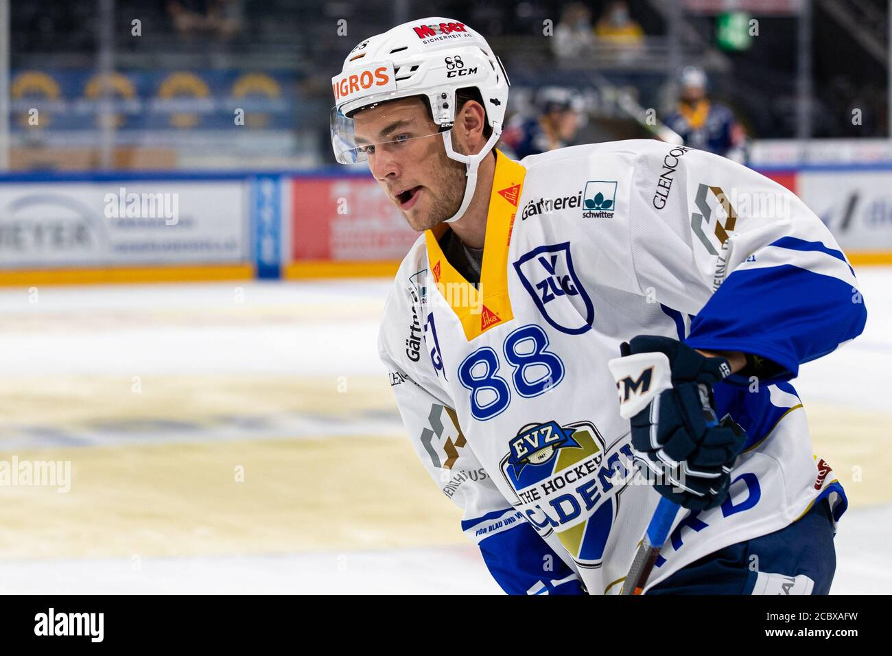 Anton Gradin # 88 (EVZ Academy) during the National and Swiss League preparation ice hockey game between EV Zug and EVZ Academy on August 16, 2020 in the Bossard Arena in Zug. Credit: SPP Sport Press Photo. /Alamy Live News Stock Photo