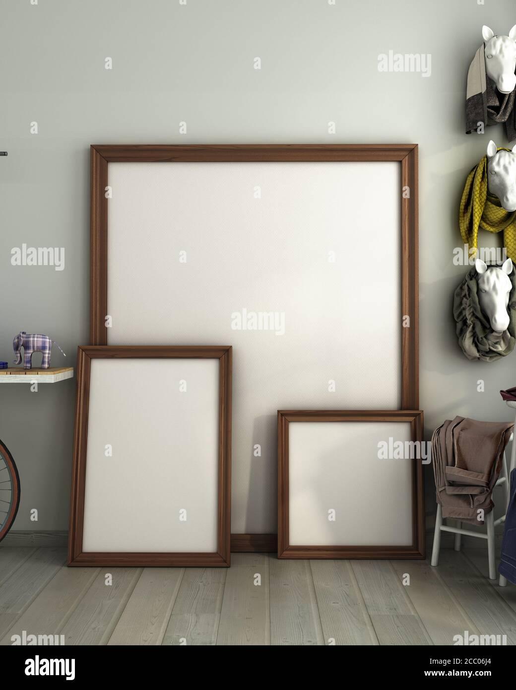 Mock Up Different Size Poster Frames In Modern Interior Background Color Living Room 3d Render Stock Photo Alamy