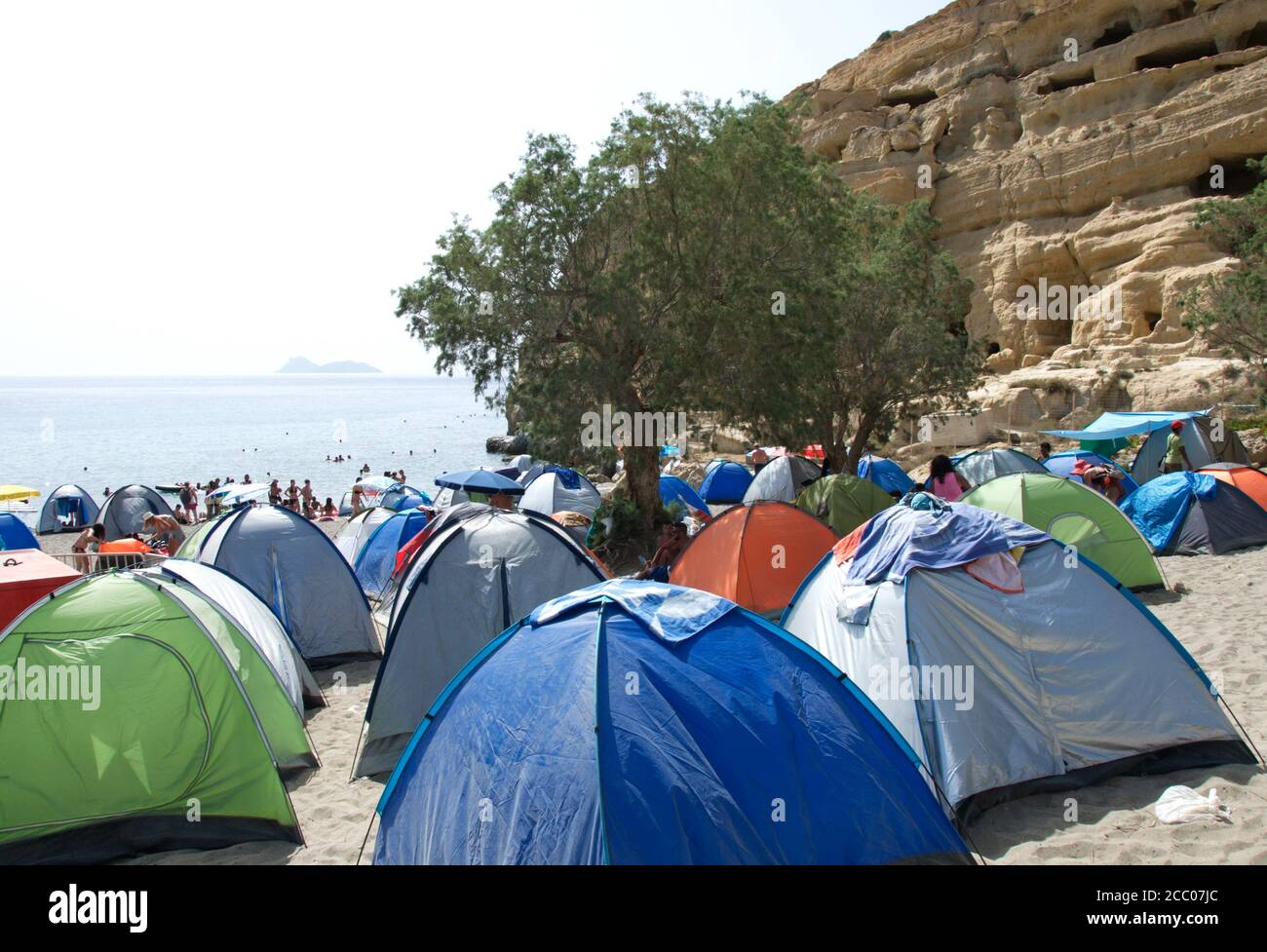 Hippie Tents At The Traditional Hippie Festival On The Extraordinary Beach Of Matala In Crete Greece Stock Photo Alamy
