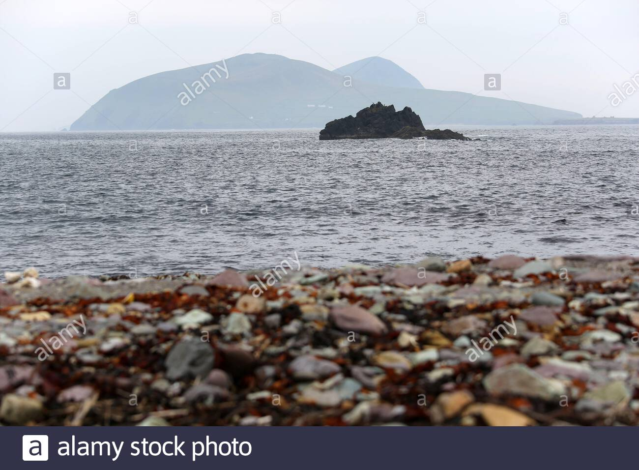 Great Blasket island as seen from the mainland near Dunquin, County Kerry Stock Photo