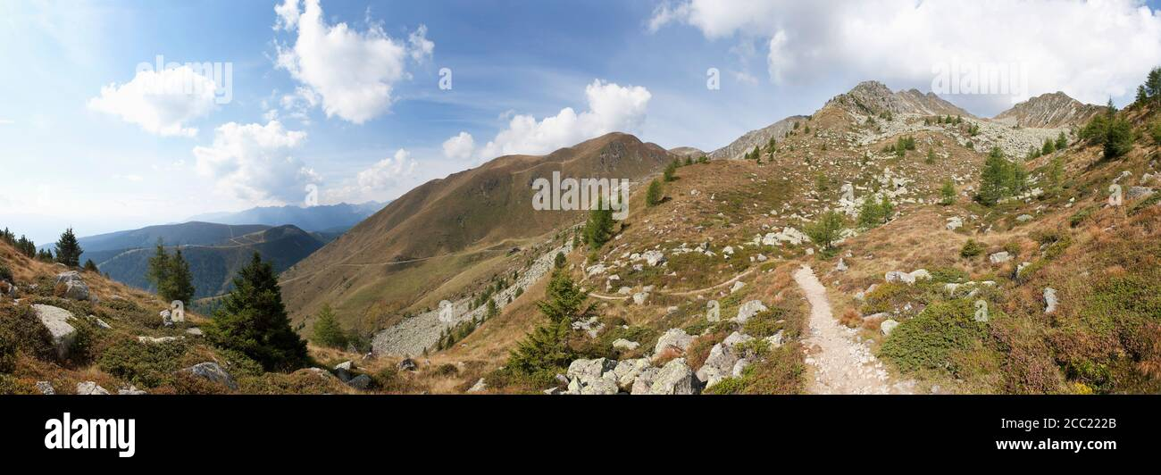Italy, View of mountain route near Pfunderer Berge Stock Photo