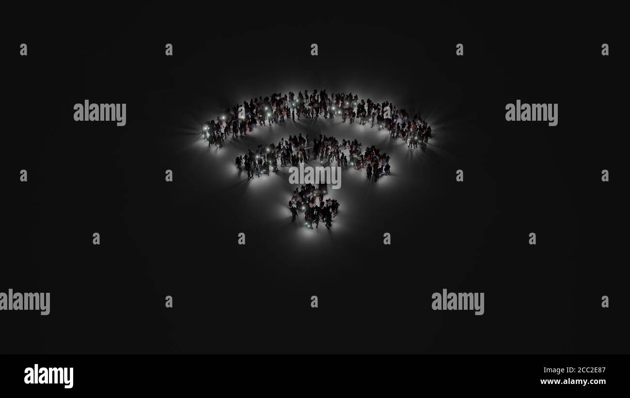 3d rendering of crowd of different people with flashlight in shape of symbol of Wi-Fi signal with signal waves on dark background with shadows Stock Photo