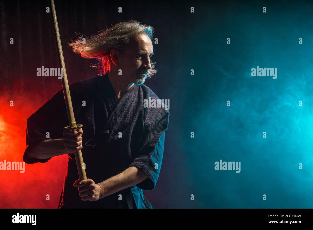 Confident Caucasian Kendo Warrior In Traditional Outfit Use Bamboo Sword Shinai For Fighting Katana Samurai Concept Stock Photo Alamy