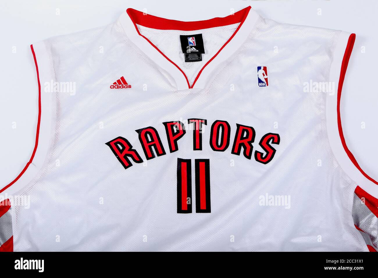 White Toronto Raptors Jersey Adidas Number 11 of TJ Ford before ...