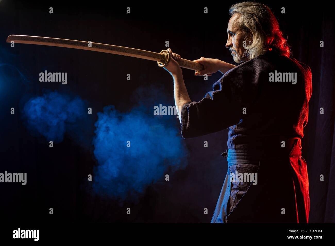 Strong Caucasian Kendo Fighter In Traditional Clothes Japanese Martial Arts Combat Warrior Samurai Concept Using Shinai For Fighting Stock Photo Alamy