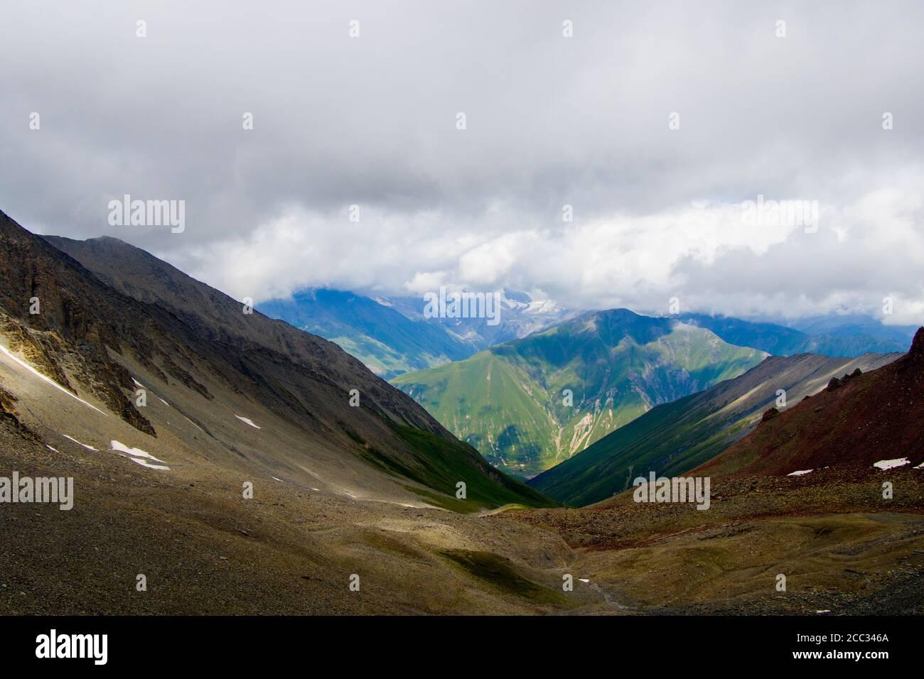Amazing and beautiful mountain range landscape, peak and hill in Georgia. Stock Photo