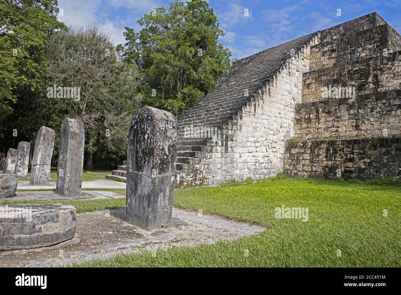 Old ruins of Tikal / Yax Mutal, ancient Maya city near the town Flores, Petén Department, Guatemala, Central America Stock Photo