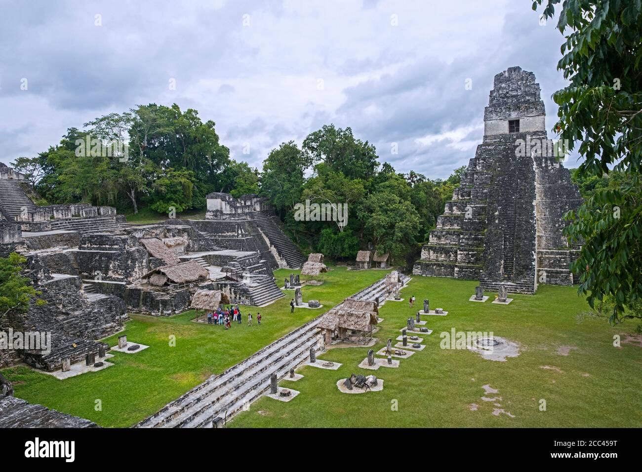 Old ruins of Tikal / Yax Mutal, ancient Maya city near the town Flores, Petén Department, Guatemala, Central America Stock Photo