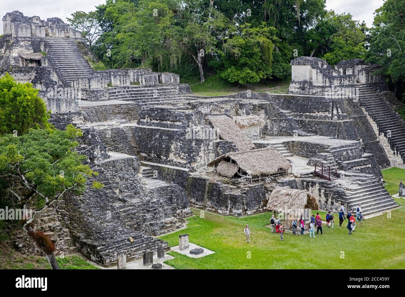 North Acropolis of Tikal / Yax Mutal, ancient Maya city near the town Flores, Petén Department, Guatemala, Central America Stock Photo