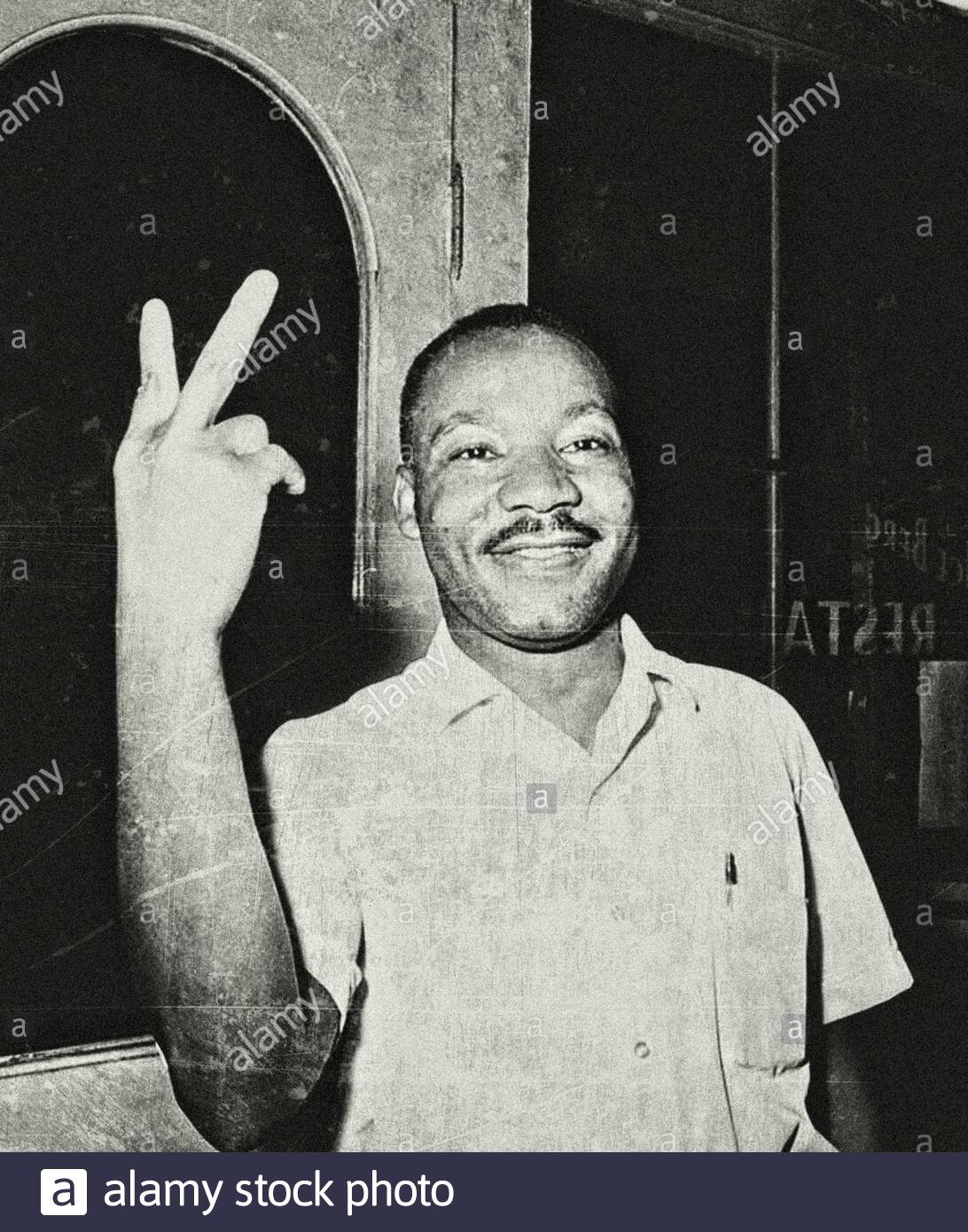 Dr. Martin Luther King, Jr., in St. Augustine, Florida, reacts after learning that the U.S. senate passed the civil rights bill on June 19, 1964. Stock Photo