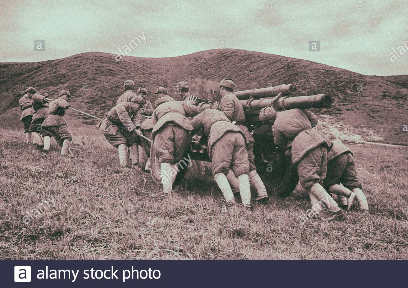 Retro photo of maneuvers of the Chinese people's liberation army (PLA). People's Republic of China. 1949 Stock Photo