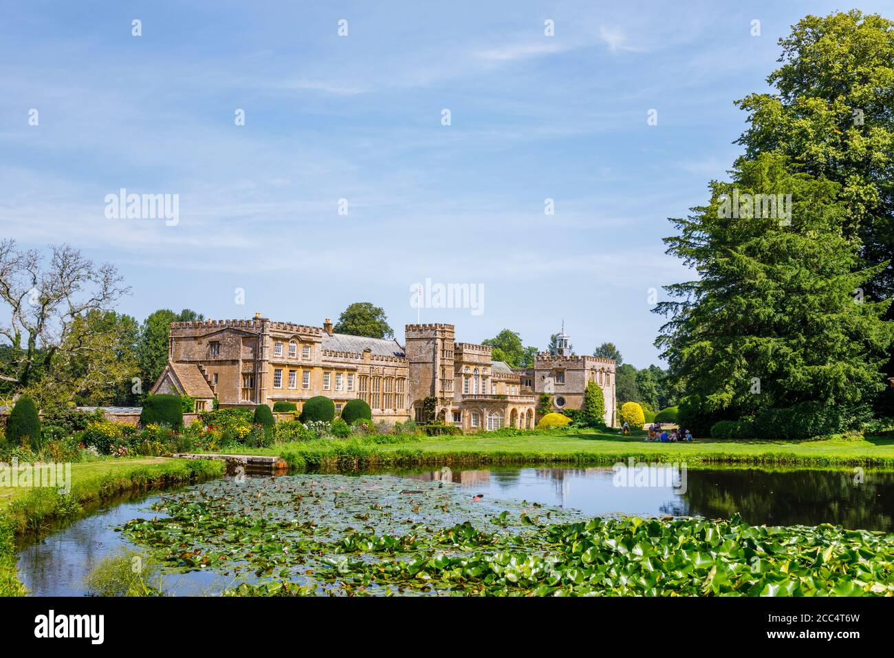 View of Forde Abbey, an historic former Cistercian monastery, across Mermaid Pond, Chard, Somerset, south-west England, Stock Photo